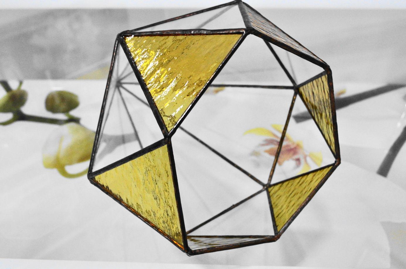 Флорариум ФЛОРЕНЦИЯ с витражным стеклом пустая форма