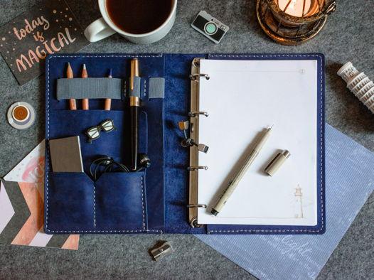 Кожаный блокнот-органайзер на кольцевом механизме -LEGACY- формат А5 цвет Синий Океан
