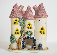 #2. Керамический подсвечник для чайной свечи. Сказочный замок - светильник.