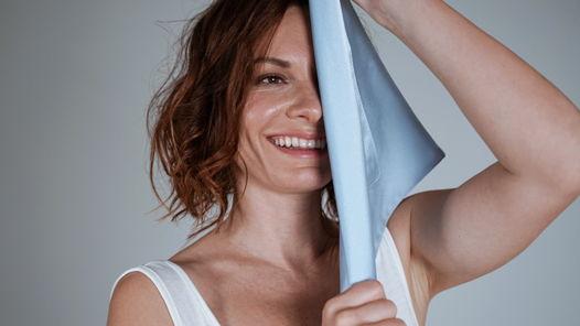 Полотенце для лица из натурального шелка, голубое