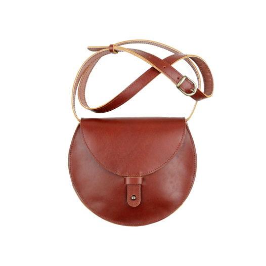 Кожаная сумка Round Cognac