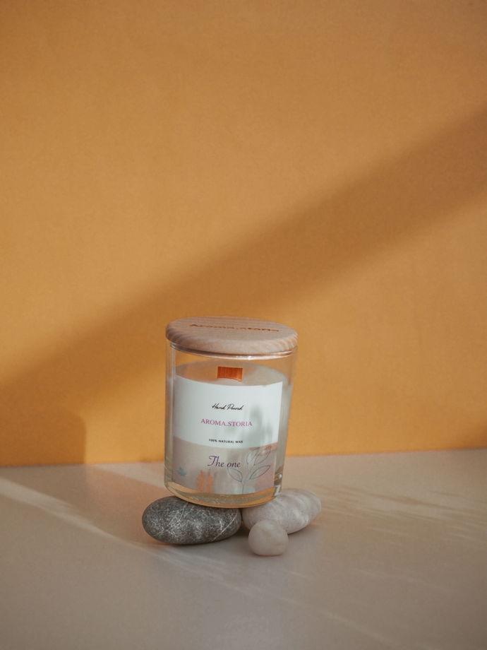 Ароматическая свеча из кокосового воска 190 мл  (аромат на выбор)