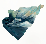 """Женский шелковый платок ручной работы """"Море""""."""