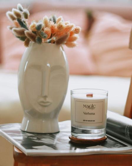 """Ароматическая кокосовая свеча """"Verbena"""" с древесным фитилем ручной работы"""