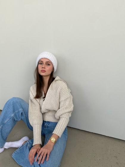 Двухслойная шапка из мохера, цвет белый
