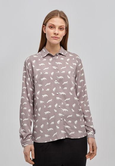 """Принтованная женская рубашка """"Песцы"""""""