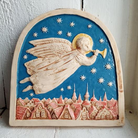 """Керамическое панно """"Ангел над городом"""""""