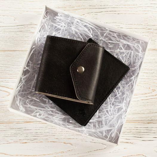 Подарочный  набор из кожи черный (кошелек малый + обложка для паспорта)
