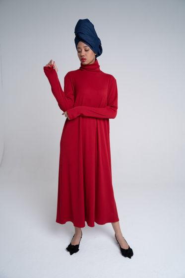 Платье из вискозы цвета морозной рябины