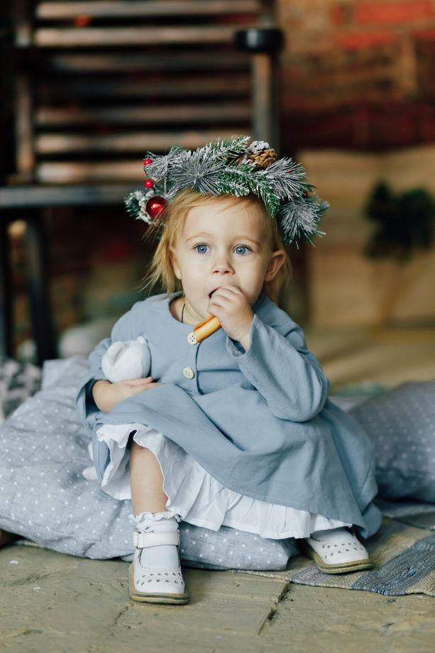 """Платье из хлопковой фланели со съемным подъюбником в цвете """"небесно-голубой"""""""