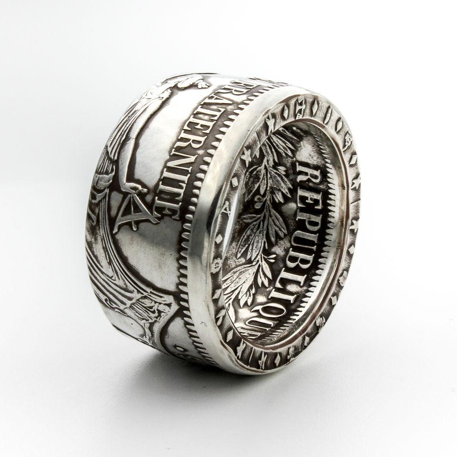 Кольцо из монеты - Франция 5 франков Геркулес и музы