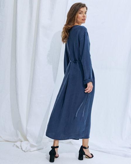 Платье #4 длинное с запахом – синее