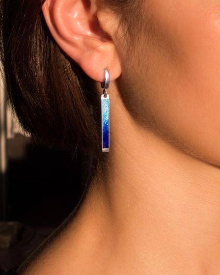 Серебряные серьги «Градиент синего»