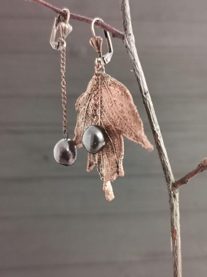 Серьги с натуральным чёрным жемчугом   Смородина Cuprum