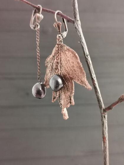 Серьги с натуральным чёрным жемчугом | Смородина Cuprum