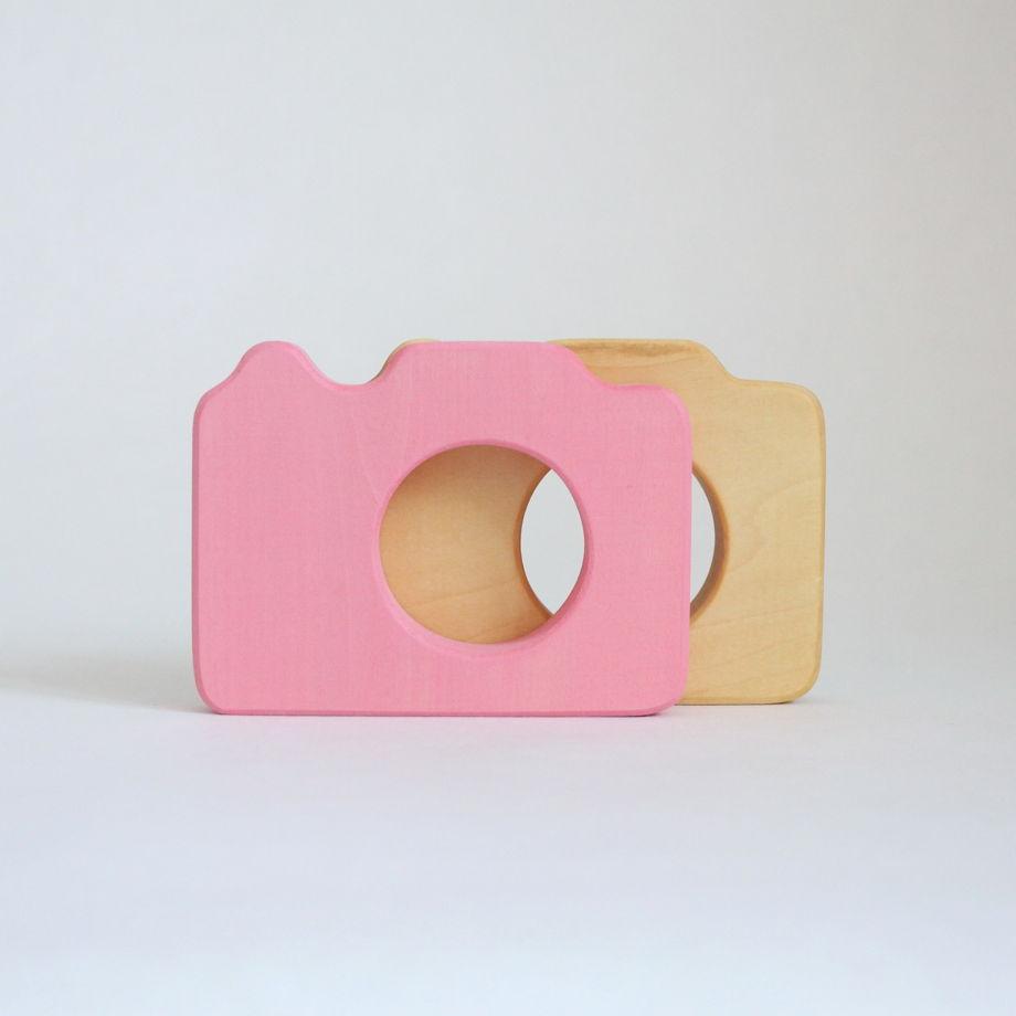Деревянный Фотоаппарат для детей (розовый)