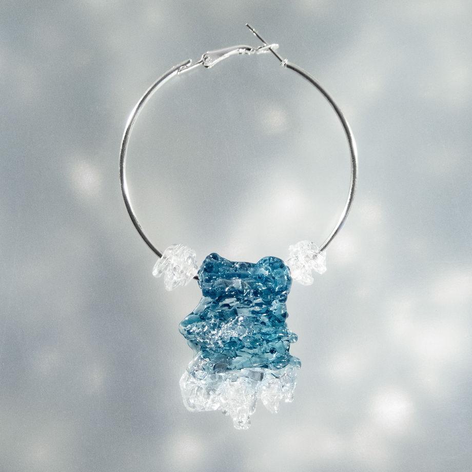 Моносерьга-кольцо с морем