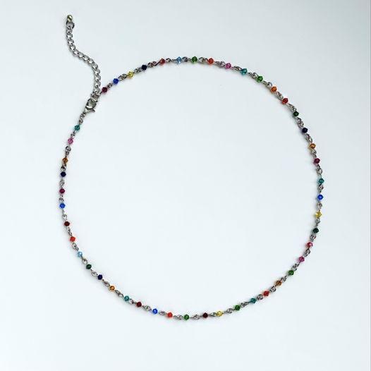Чокер с разноцветными кристаллами Swarovski
