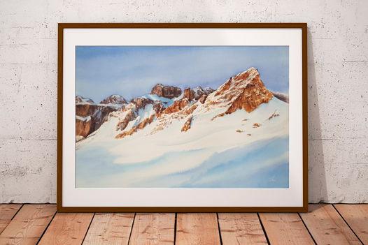 """Акварельная картина с горами """"Итальянские Альпы"""" (56 х 38 см)"""