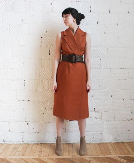 Универсальное платье-жилет в цвете терракот