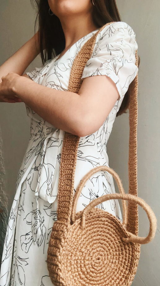 Сумка с отстёгивающимся ремешком ручной работы из джута