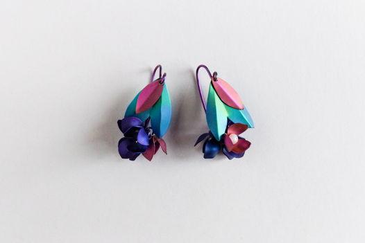 """Серьги """"Лесные цветы"""" из коллекции """"TitaniumFlower"""""""