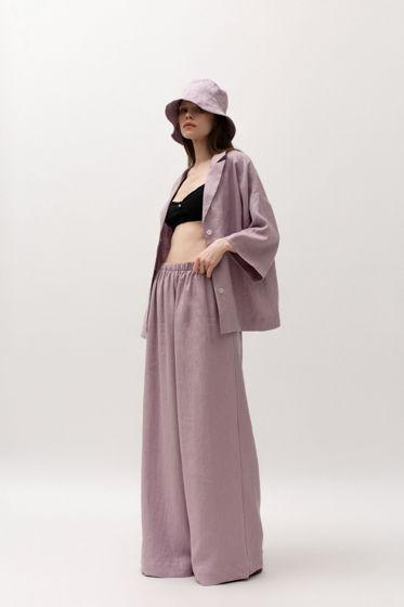 Льняной комплект в пижамном стиле: льняные брюки-палаццо и рубашка