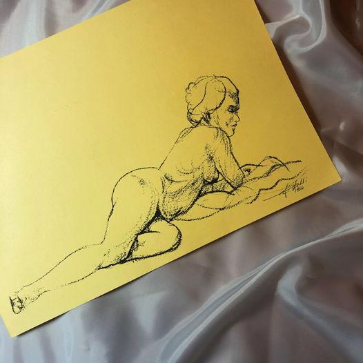 Рисунок итальянского художника Грацианно Лейли (горизонтальный), 1964 г, бумага, тушь