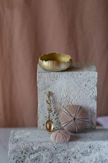 Солонка и ложка для соли.  Латунь