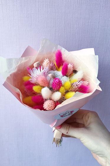 """Детский букетик из сухоцветов №4 """"Яркий розовый"""""""