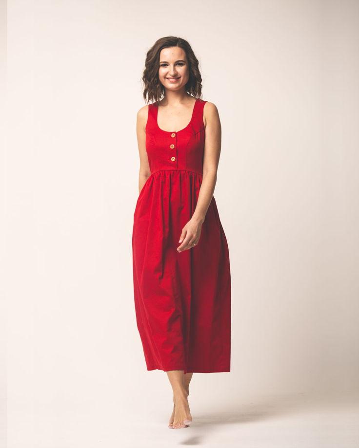Платье красное хлопковое