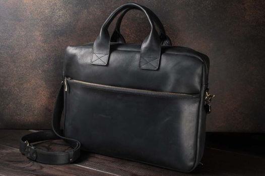 Мужской деловой портфель / сумка для ноутбука -OXFORD- из кожи цвет Черный