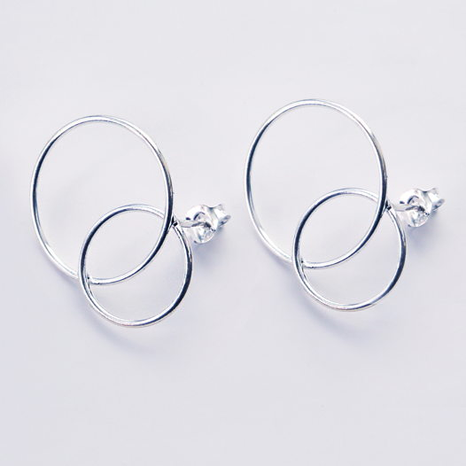 Серьги гвоздики два колечка «Геометрия»