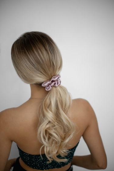 Резинка для волос STANDART из натурального шелка пудровая
