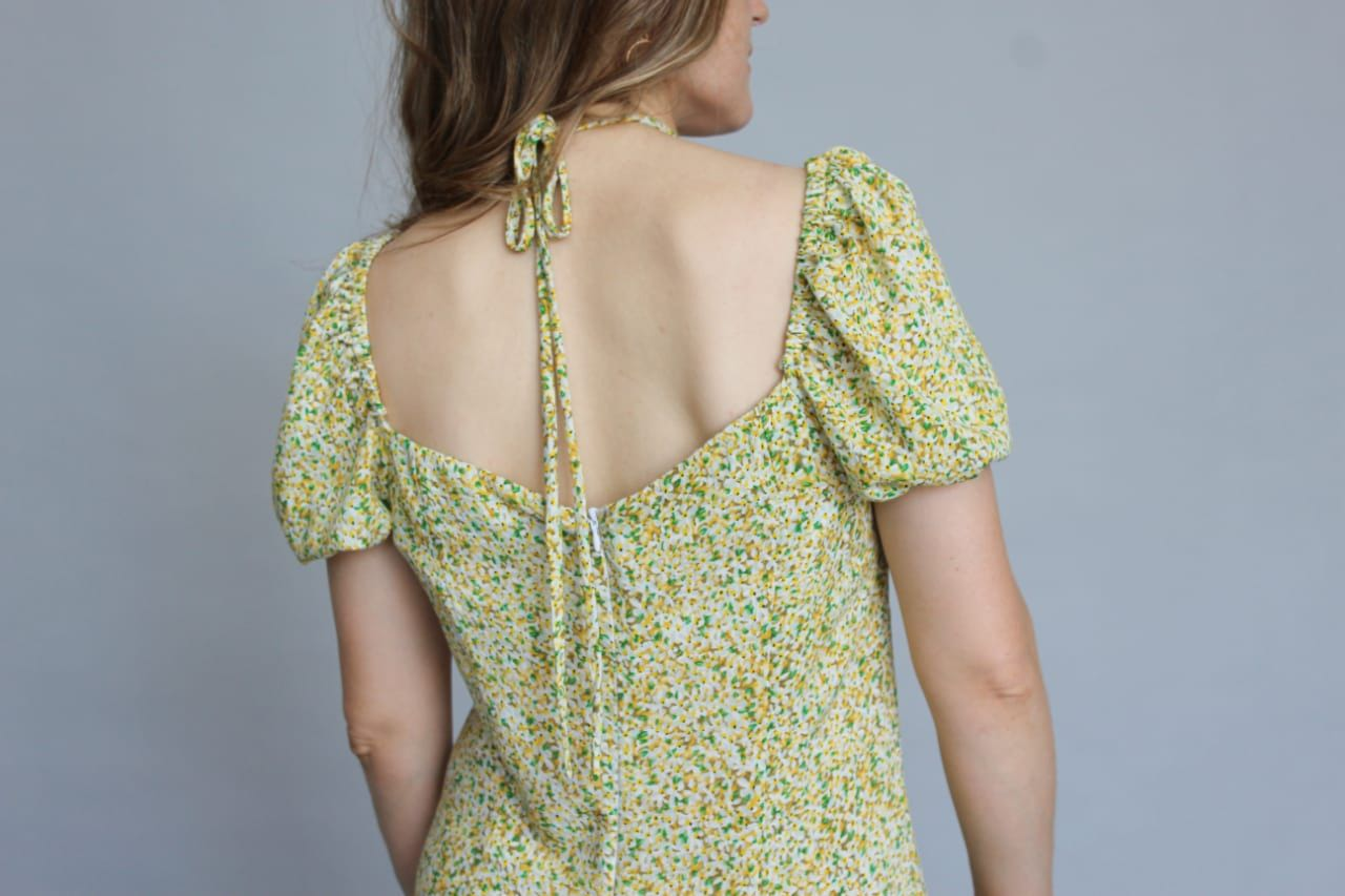 Платье миди из вискозы в мелкий цветок