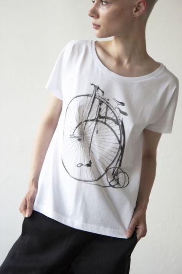 Женские футболки с цельнокроеным рукавом и принтом ретро_велосипед, светящимся в темноте