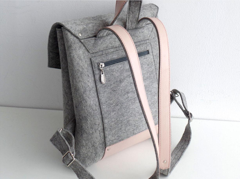 Рюкзак из фетра и натуральной кожи светло-серый