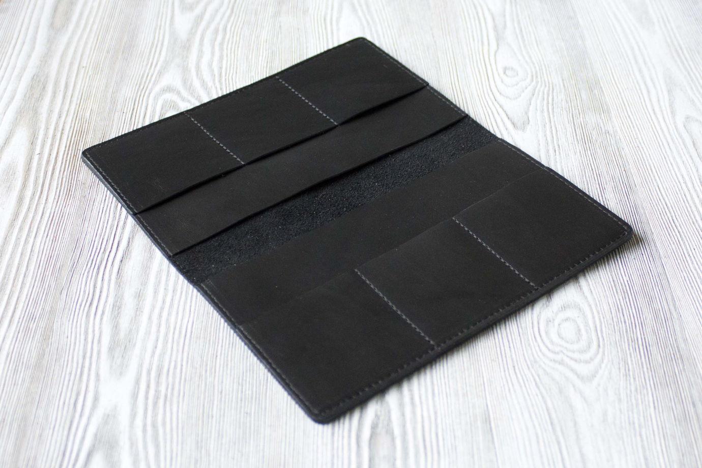 """Черное мужское портмоне, из натуральной кожи """"Графит"""""""