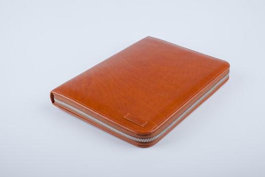 Ежедневник - органайзер на кольцах из рыжей кожи A5 Raiden
