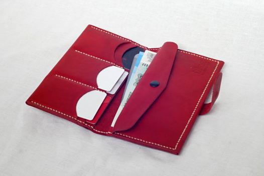 """Красное портмоне из натуральной кожи, модель """"EXP"""""""