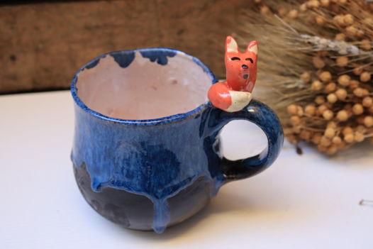 """Чашка с лисом синяя из серии """"Маленький принц"""""""