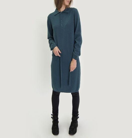 Платье, 100% кашемир, вороник поло, пояс, 12 gauge
