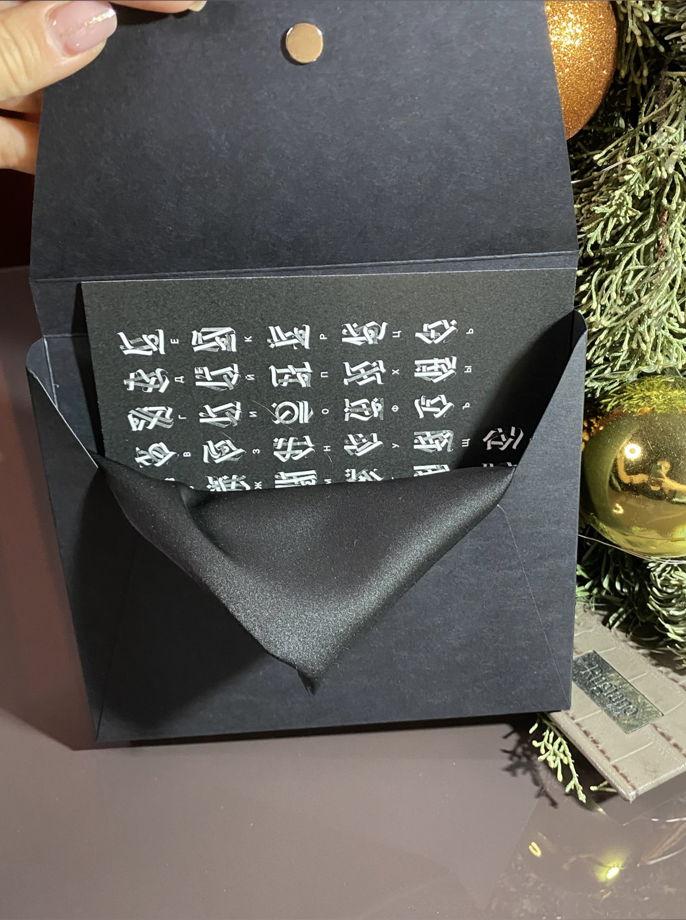 Шёлковый серый  платок «Грей» с символами