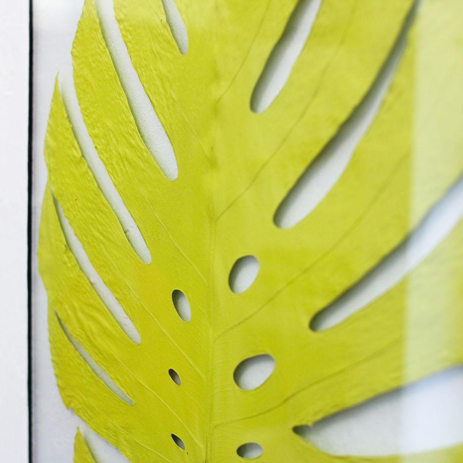 Большой настенный декор с листом тропической лианы монстеры в лимонном цвете