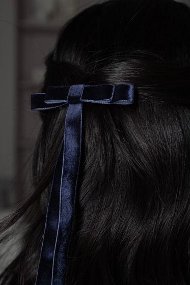 Бант-заколка для волос из бархата темно-синий