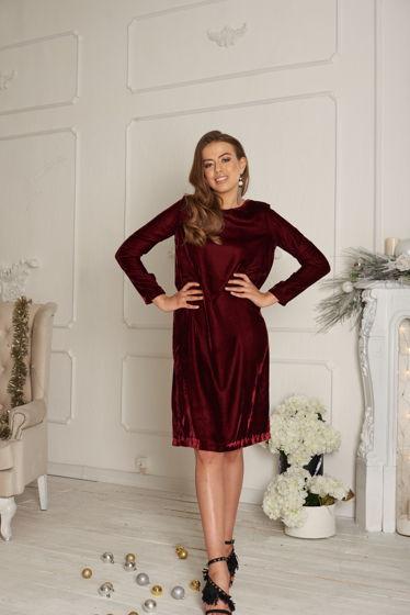Платье бархатное бордо