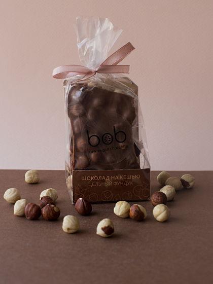 """Шоколад  Подарочный, кусковой """"На молочке из кешью с цельным фундуком"""", 100 гр."""
