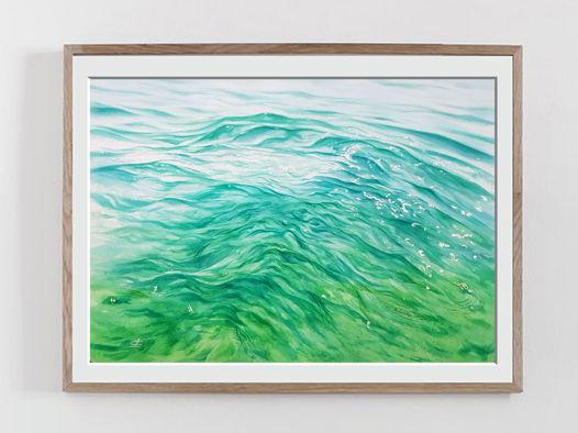 """Акварельная картина """"Солнечные блики на волнах"""" (56 х 38 см)"""