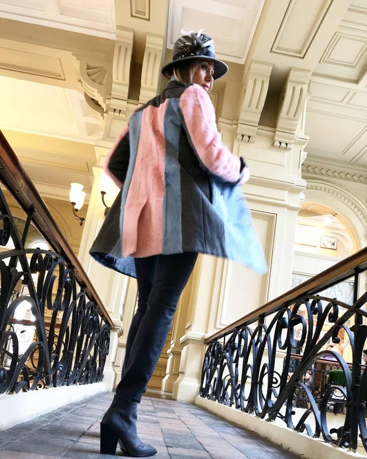 Пальто-тренч с мехом козлика