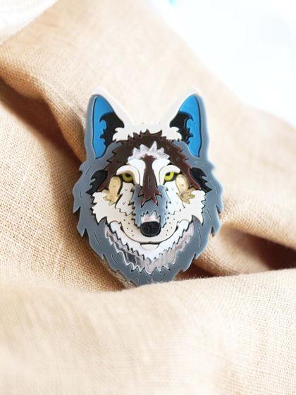 Брошь Серый Волк, Siberia / органическое стекло